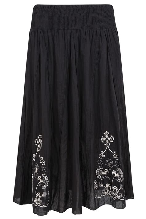 black cotton maxi skirt with embroidery detail plus