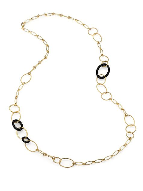 Onyx W Chain Link Necklace by David Yurman Black Onyx 18k Gold Chain Link Necklace In