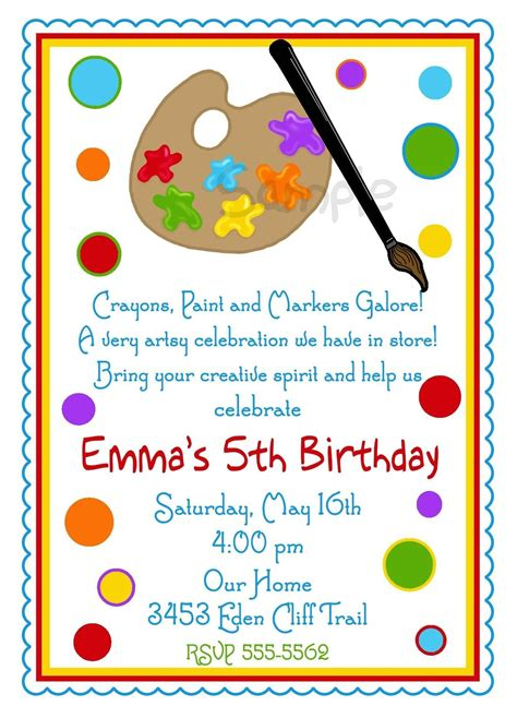 free printable art birthday invitations art birthday party invitations for your kids bagvania