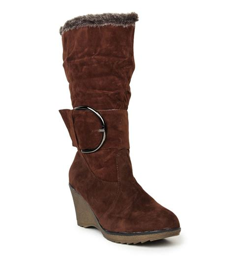 stylistry brown suede flat knee length boots price