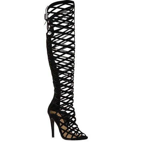 knee high sandals heels womens cut out lace knee high heel boots gladiator