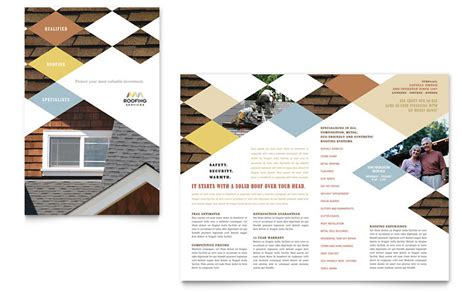 cool brochure templates roofing contractor brochure template word publisher