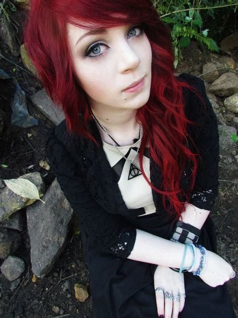 gothic girl with bright red hair 17 cool halloween untitled on we heart it http weheartit com entry