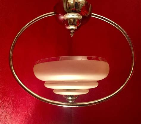 Deco Ceiling Light Antiques Atlas Deco Ceiling Light Chrome And Frosted Glass