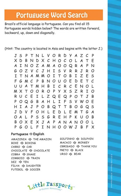 Brazil Search Brazil Activity Portugese Word Search Puzzle Passports