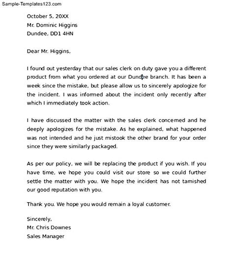 Write Apology Letter To A How To Write An Apology Letter To A Customer Sle Templates
