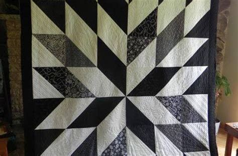 triangle pattern ea gorgeous star quilt in black and white made from 14