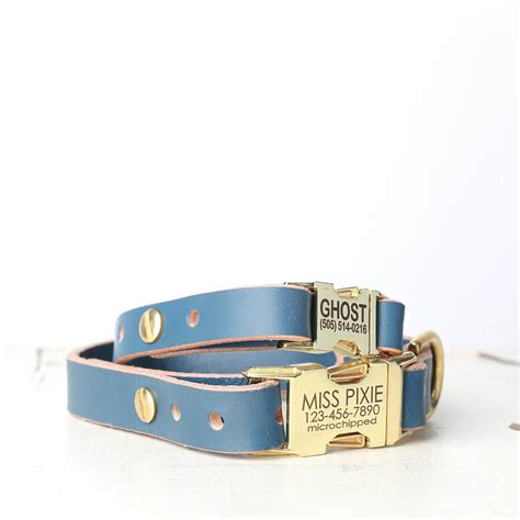 engraved leather collars personalized blue leather collar engraved side release buckle