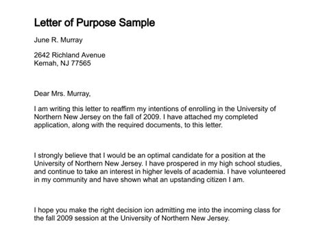 Request Letter Purpose Letter Of Purpose