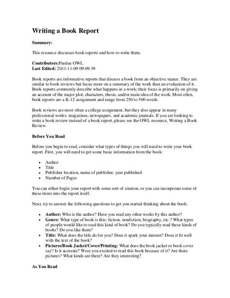 how to write book reports writing a book report