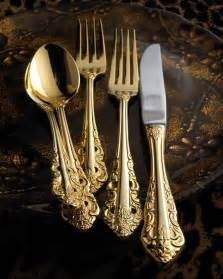Luxury Kitchen Knives wallace 80 piece gold plated antique baroque flatware