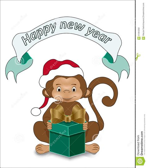 new year monkey year wishes monkey wishes happy new year stock vector image 61064282