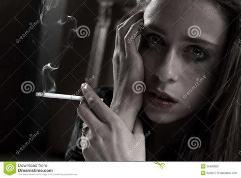 imagenes sad fumando sad woman smoking royalty free stock photo image 35495855