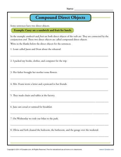 direct object worksheets compound direct object worksheet parts of a sentence worksheets