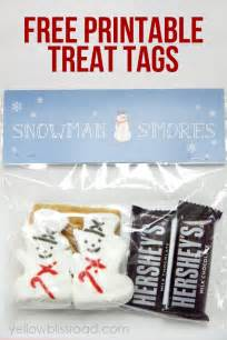 snowman s mores treat bags with free printable yellow
