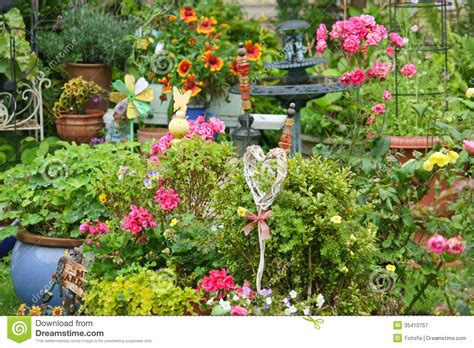 Colorful Garden Decor Colorful Blooming Garden Royalty Free Stock Photography Image 35410757