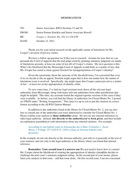 Sle Memo Question Presented Fall 2011 Closed Memo No 2 Assignment Cooper V Stockett Appropria