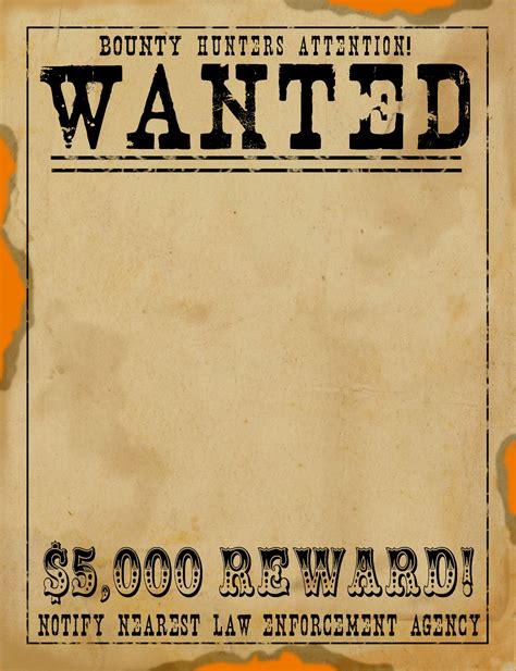 6 Blank Wanted Poster Teknoswitch Western Wanted Poster Template