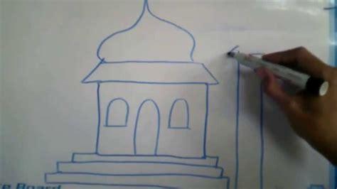 menggambar masjid  mushola sederhana youtube