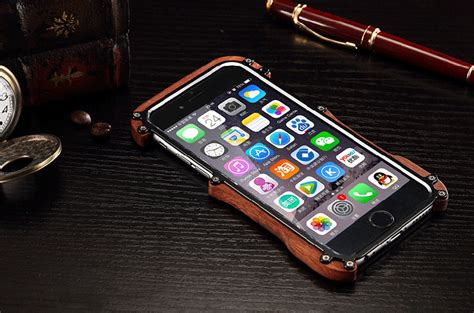 For Iphone 6 6s Plus Flag Woodmetal Bumpe T0310 R Just Light Slim Timber Aluminum Metal Wood Bumper