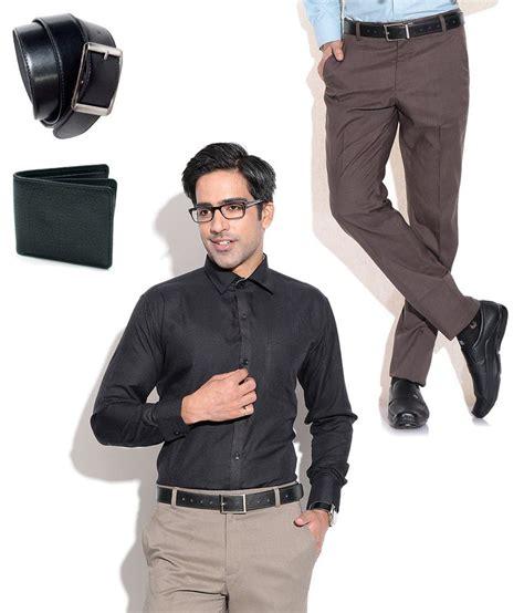 fizzaro combo of brown formal trouser black shirt belt