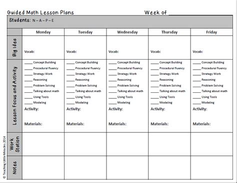 small lesson plan template guided math in chapter 7 free small