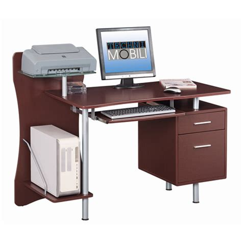 techni mobili computer desk with storage chocolate