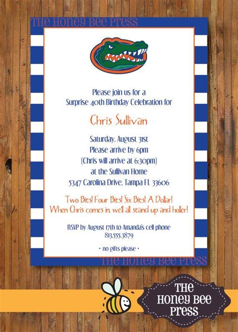 Come With Me Tailgate Ae Invites by Florida Gator Birthday Invitation Two Bits