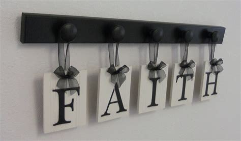 items similar to faith home decor shabby chic sign set includes matching 5 hooks painted black