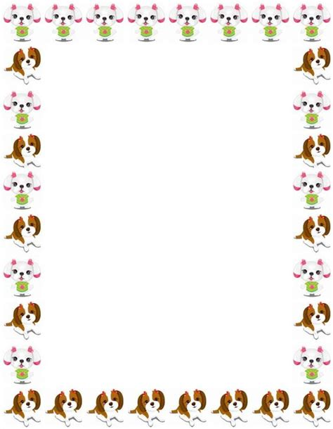printable writing paper with dogs school clip art borders stationary border paper
