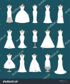 set different styles wedding dresses fashion stock vector