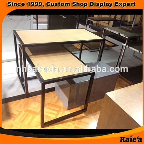 table top display shelves clothing store wood and metal table top display shelves