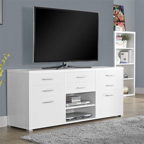 60 Tv Stand With Drawer by Monarch 60 Quot Console White W 8 Drawers Tv Stand Ebay