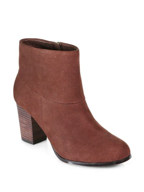cole haan cassidy nubuck leather ankle boots  brown lyst