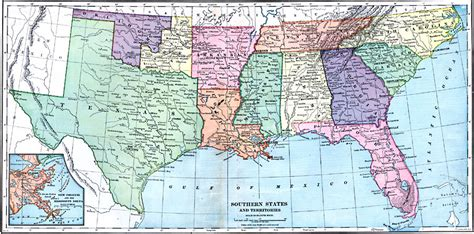 map of southeastern united states with cities southern states and territories