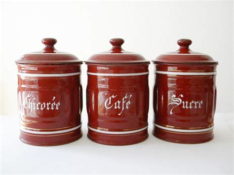 vintage french enamel kitchen canisters a pair chairish french enamel canisters vintage 3 enamelware kitchen canisters