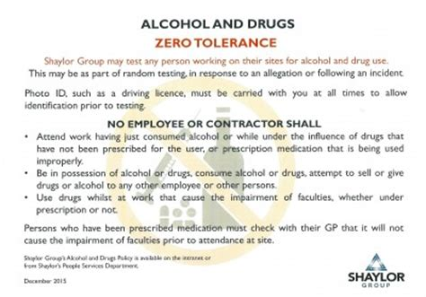 187 Spotlight On Drugs And Alcohol Best Practice Hub Zero Tolerance Policy In The Workplace Template