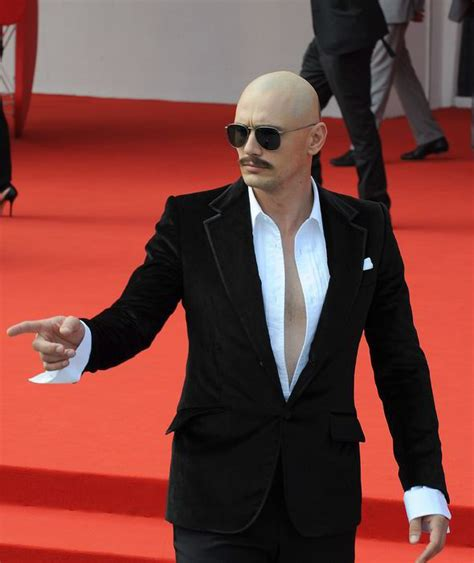 Celebrities Having Moustaches With Bald Head | james franco shows off a rather uncharacteristic look