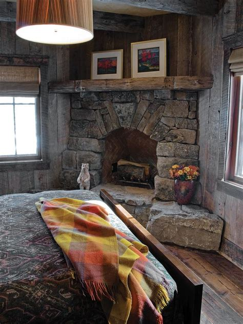 Rustic Corner Fireplace country bedroom photos hgtv
