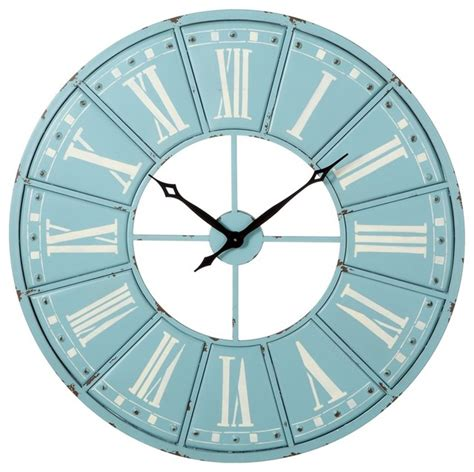 numeral design wall clock large from cbk home numeral wall clock sky blue and white