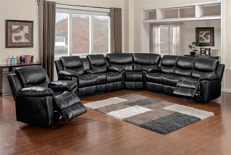 black reclining sectional sofa 66008 chion black sectional awfco catalog site