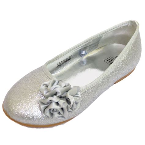 S Wedding Flats by Childrens Flat Silver Glitter Wedding