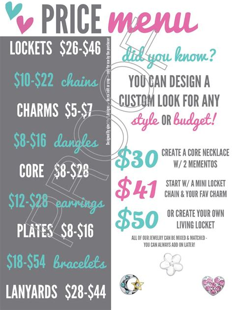 Origami Owl Events - price menu easily show the price ranges of o2 items for