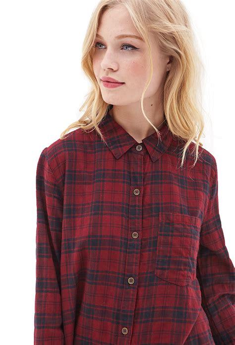 Kemeja Flannel Tartan Gradation Black 1 forever 21 plaid flannel shirt dress in lyst