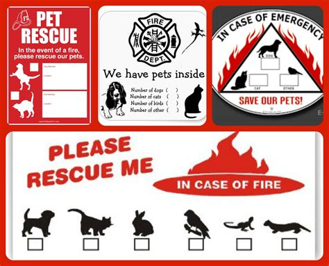 Aufkleber Feuerwehr Tiere by Pet Safety Stickers Conscious Companion