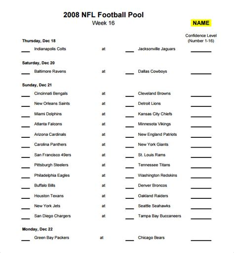 nfl pool template sle football pool 7 documents in pdf word excel