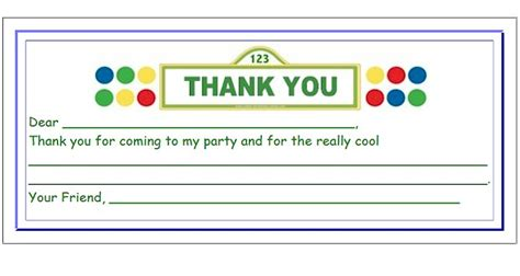 Thank You For My Present Card Template by Sesame Birthday Ideas A Children S