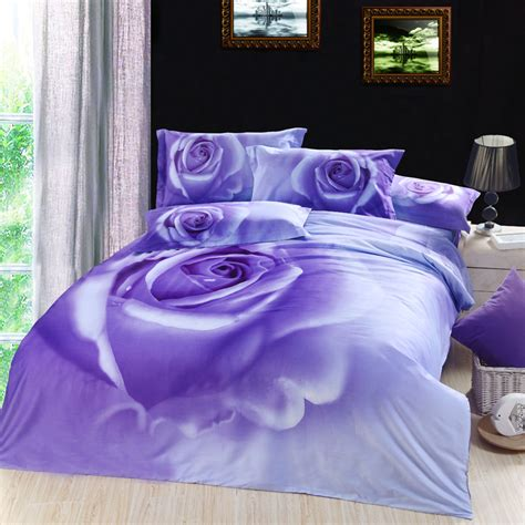 purple rose comforter set 3d lilac purple rose floral flower bedding comforter set
