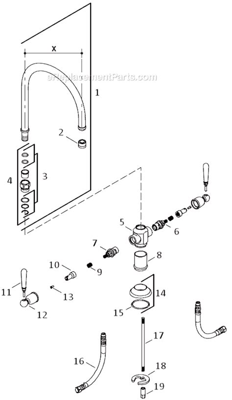 kohler kitchen faucet parts diagram kohler k 7341 4 parts list and diagram ereplacementparts