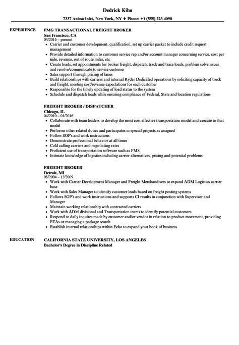 Freight Broker Resume Templates by Freight Broker Resume Templates Dadaji Us